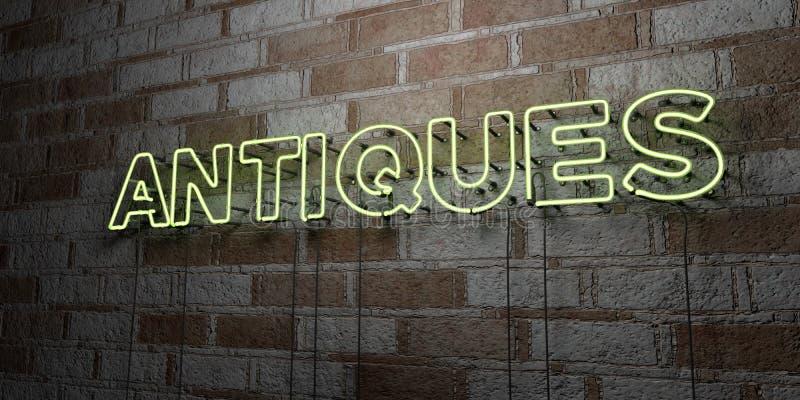 ANTYKI - Rozjarzony Neonowy znak na kamieniarki ścianie - 3D odpłacająca się królewskości bezpłatna akcyjna ilustracja royalty ilustracja