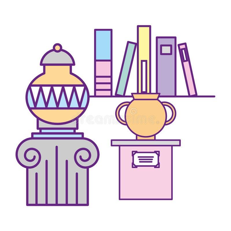 Antyki wazowi na piedestału i książek wystawy muzeum royalty ilustracja