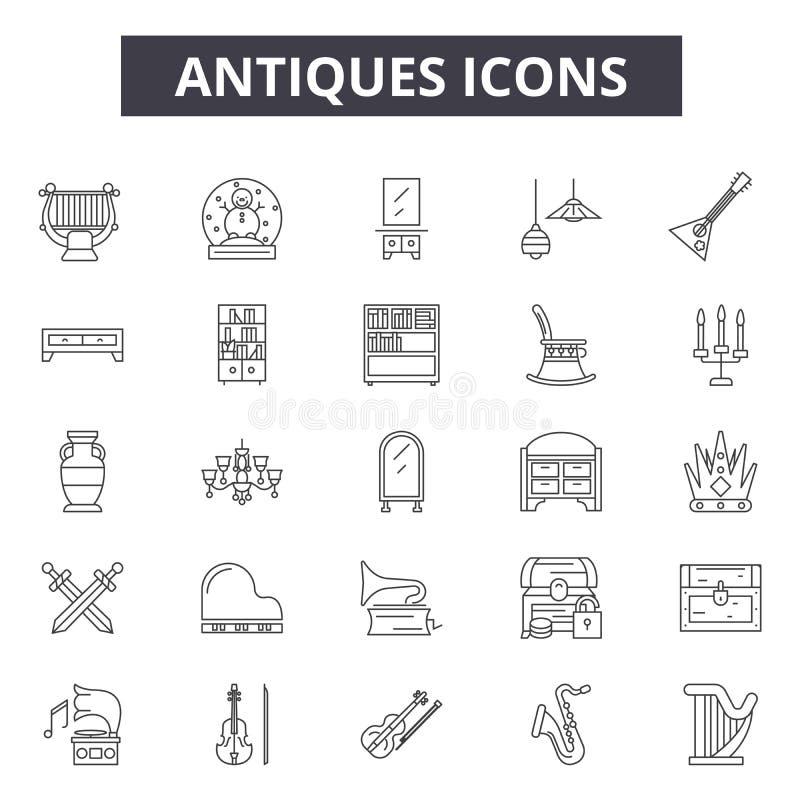 Antyki wykładają ikony, znaki, wektoru set, kontur ilustracji pojęcie ilustracji