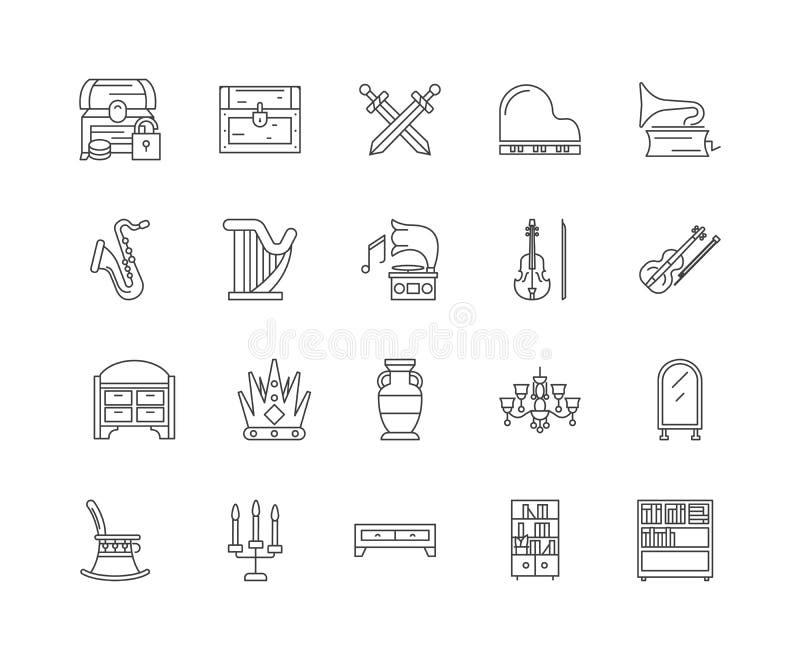 Antyki wyk?adaj? ikony, znaki, wektoru set, kontur ilustracji poj?cie ilustracja wektor
