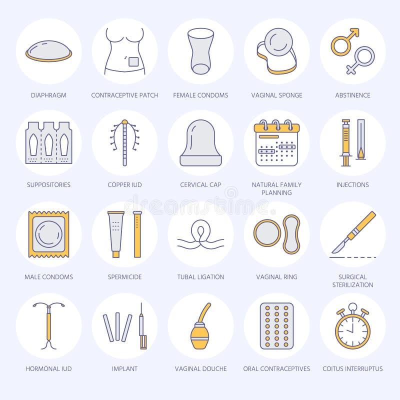 Antykoncepcyjnych metod kreskowe ikony Kontrola urodzin wyposażenie, kondomy, oralni antykoncepcyjny, iud, bariery antykoncepcja ilustracja wektor