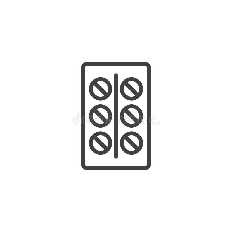 Antykoncepcyjnych pigułek konturu ikona ilustracja wektor