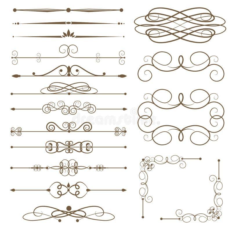 Antykwarscy dekoracyjni elementy, set strony dividers ilustracja wektor