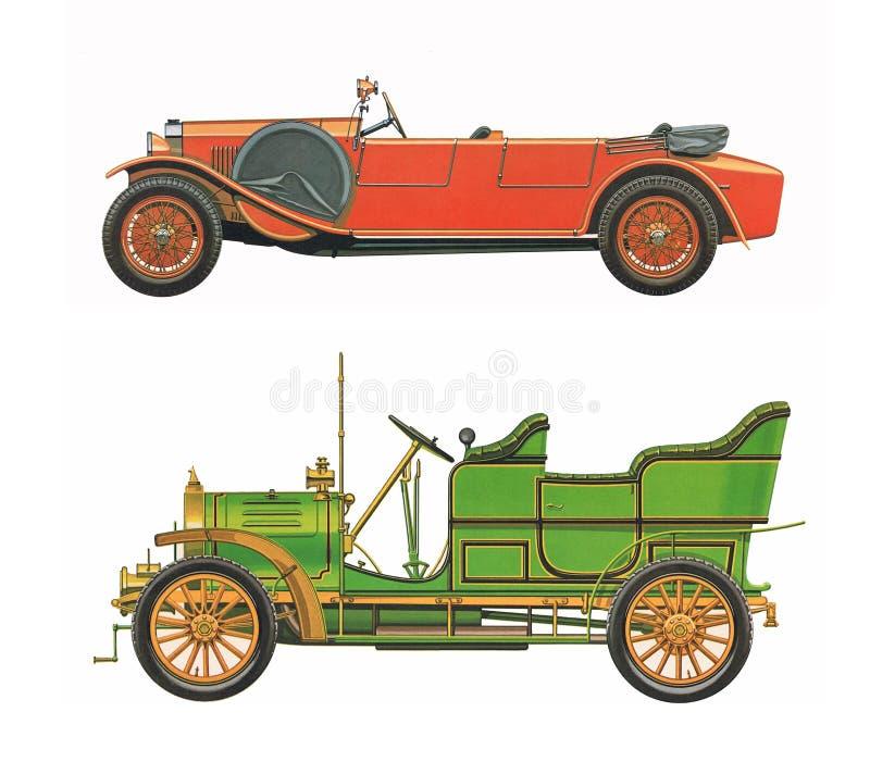 Antykwarscy klasyczni samochody dwa antykwarskiego klasycznego samochodu/set fotografia royalty free