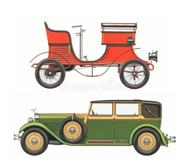 Antykwarscy klasyczni samochody dwa antykwarskiego klasycznego samochodu/set zdjęcia royalty free
