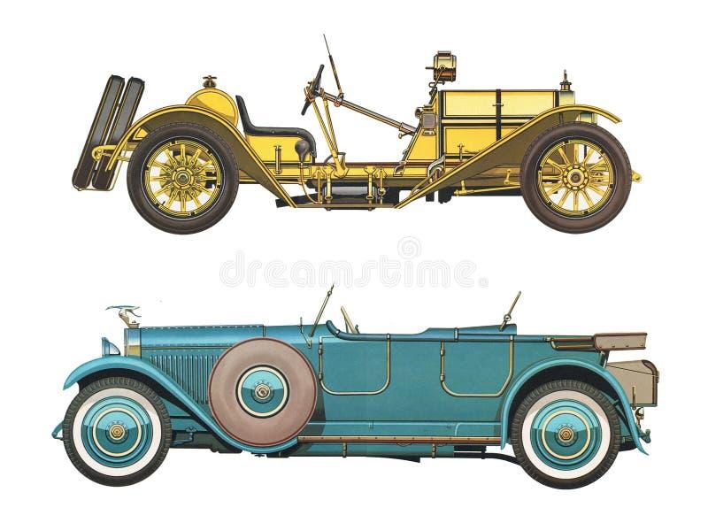Antykwarscy klasyczni samochody dwa antykwarskiego klasycznego samochodu/set obrazy royalty free