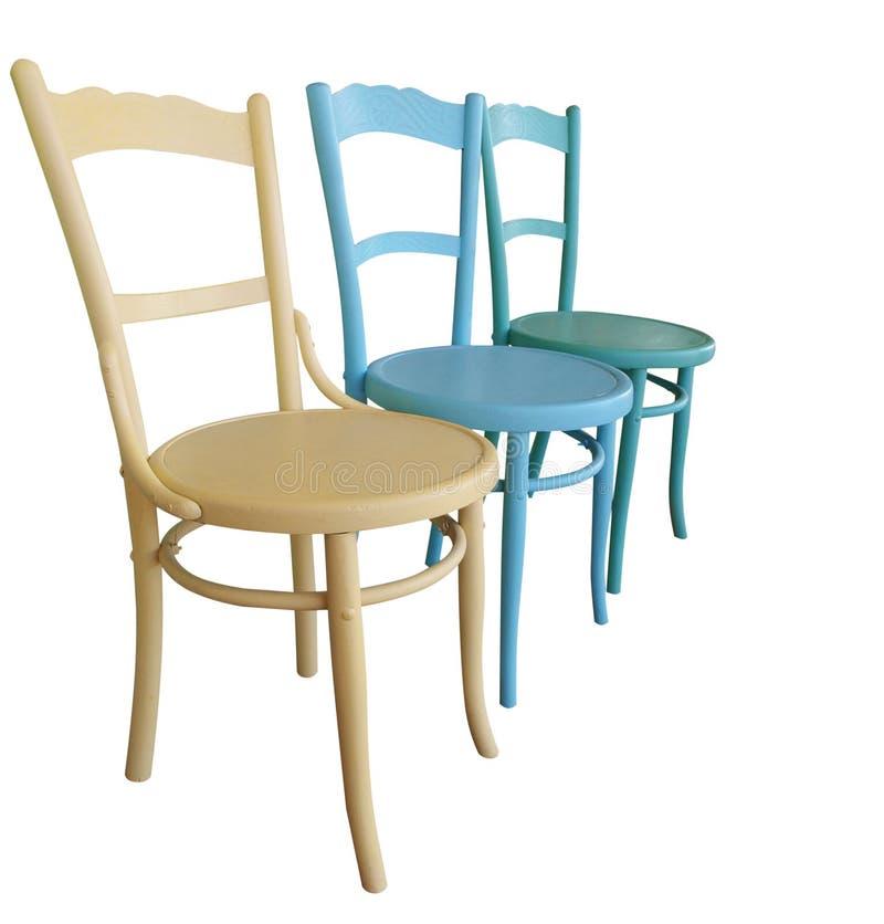 antykwarscy krzesła malowali trzy zdjęcia stock