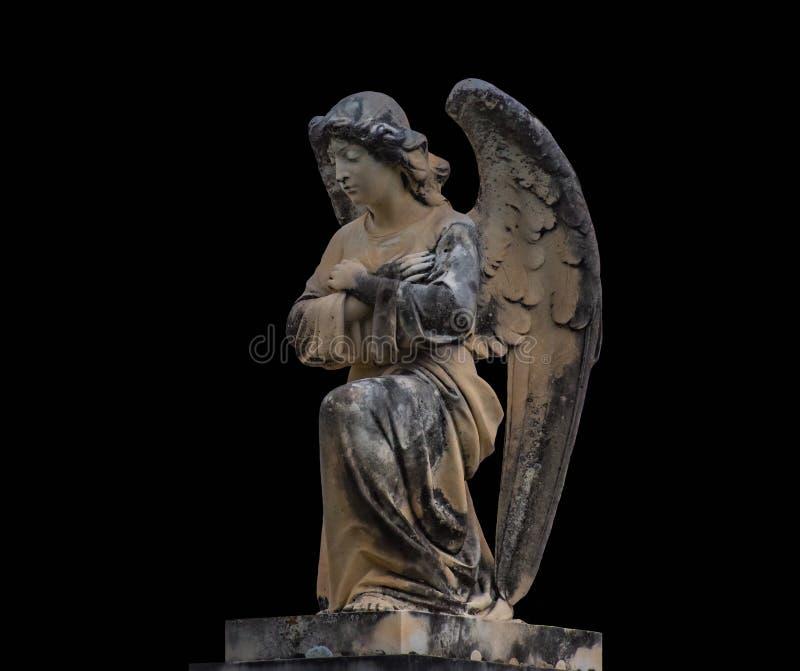 Antykwarska średniowieczna statua cmentarniany anioł fotografia stock