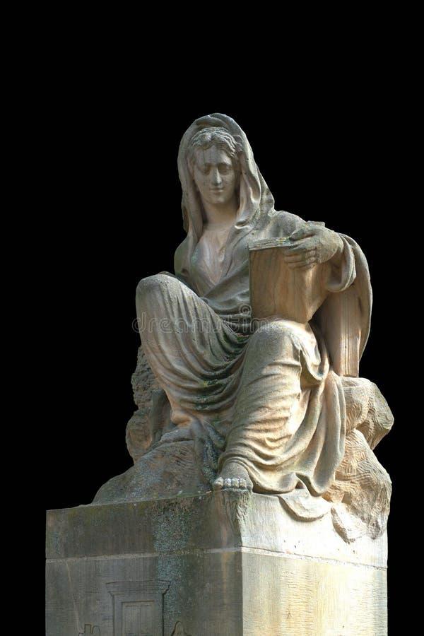 Antykwarska średniowieczna statua w włoskim kościół fotografia stock