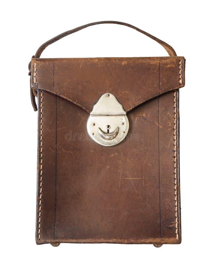 Antykwarska brown rzemienna torba/Odizolowywał biel obrazy royalty free