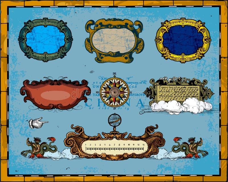 antykwarska dekoracj ramy mapa ilustracja wektor