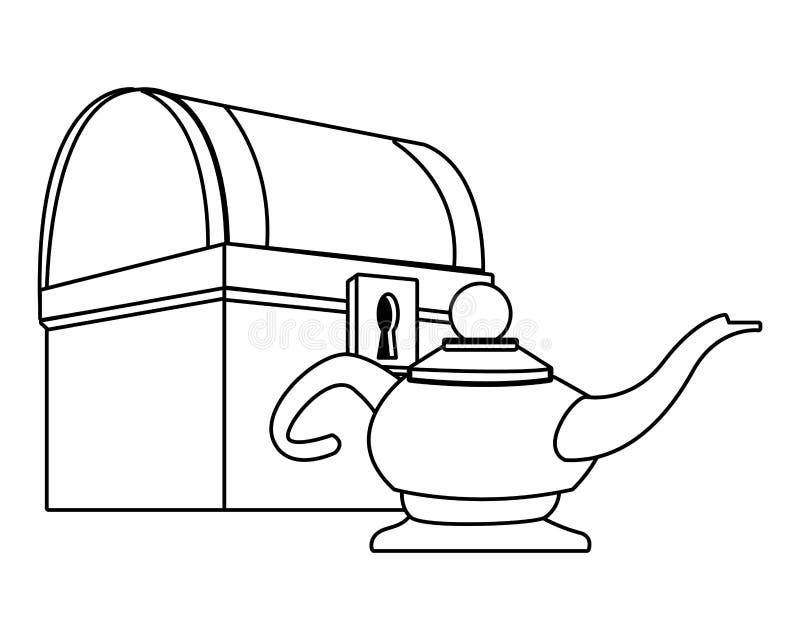 Antykwarska drewniana klatka piersiowa i magii lampa w czarny i biały ilustracja wektor