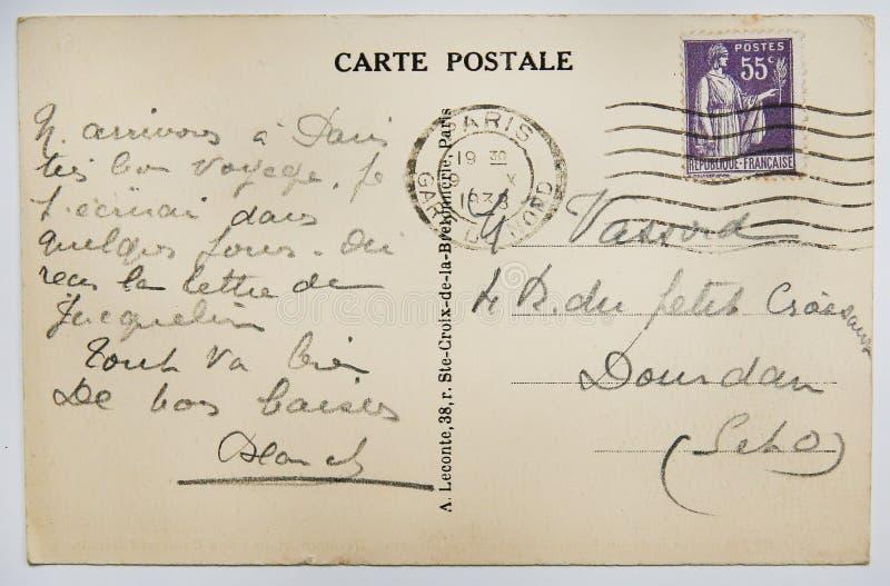 Antykwarska francuska pocztówka z znaczkiem od Paris obrazy royalty free