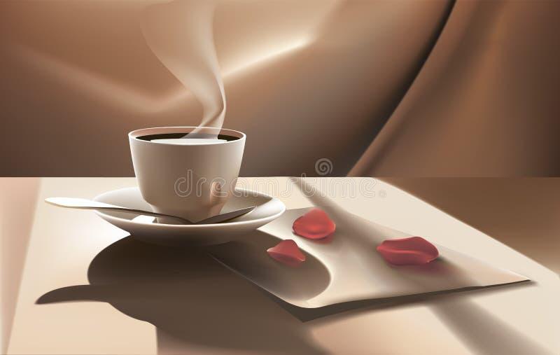 antykwarska kawa umowy gospodarczej kubek świeżego fasonował dzień dobry długopisy sceny starą maszynę do pisania zdjęcie stock