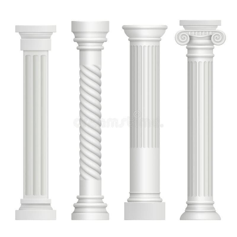 antykwarska kolumny Dziejowej greckiej filaru budynku architektury sztuki antycznej rzeźby wektorowi realistyczni obrazki royalty ilustracja
