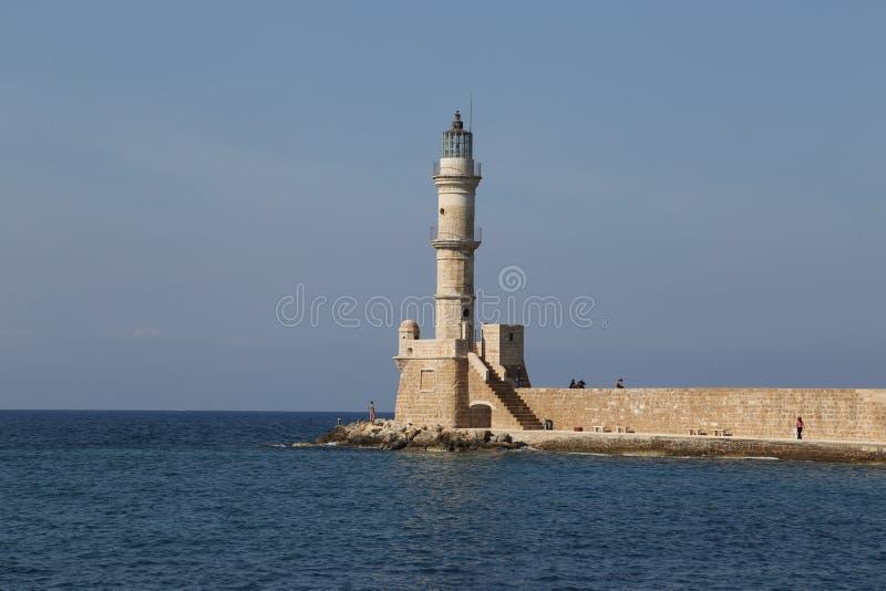 Antykwarska latarnia morska Chania w Grecja fotografia stock