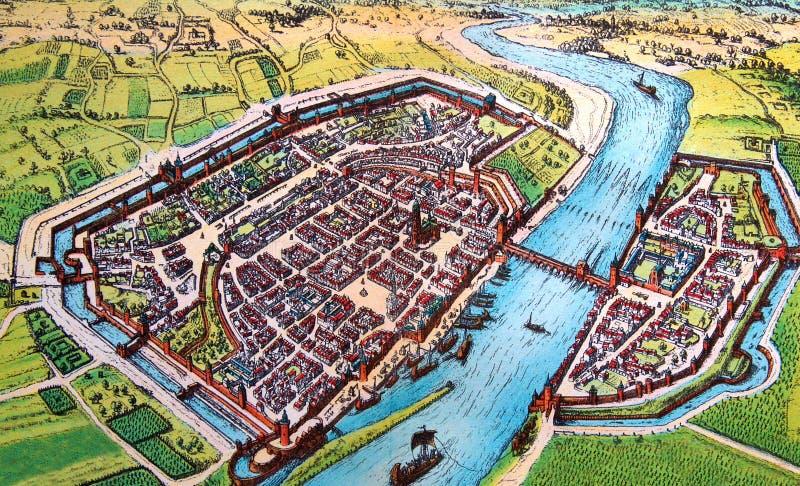 Antykwarska mapa średniowieczny Europejski miasto obrazy stock