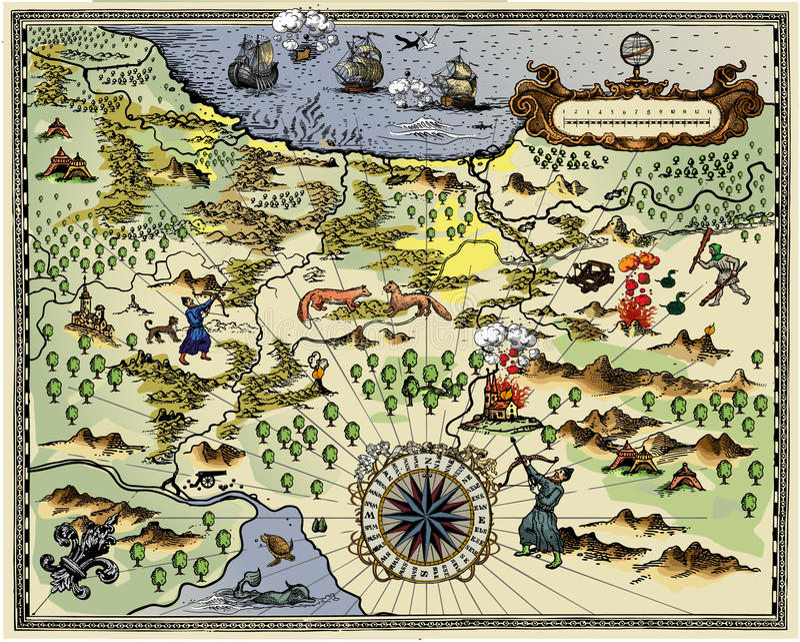 antykwarska mapa ilustracji