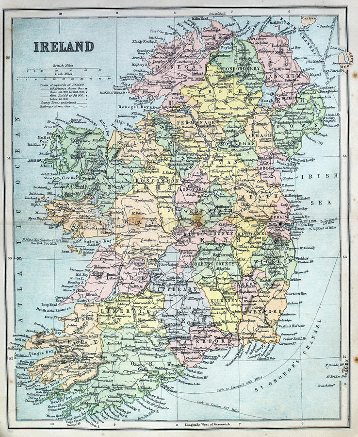 Antykwarska mapa Irlandia fotografia royalty free
