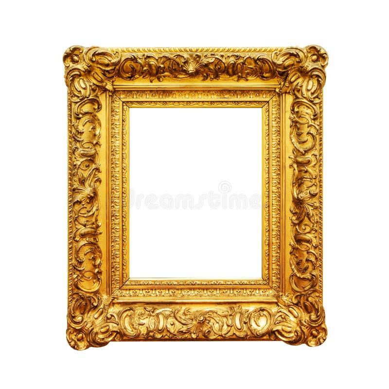 Antykwarska obrazu złota rama odizolowywająca na bielu fotografia stock