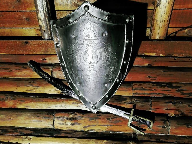 Antykwarska osłona na drewnianej ścianie zdjęcia royalty free