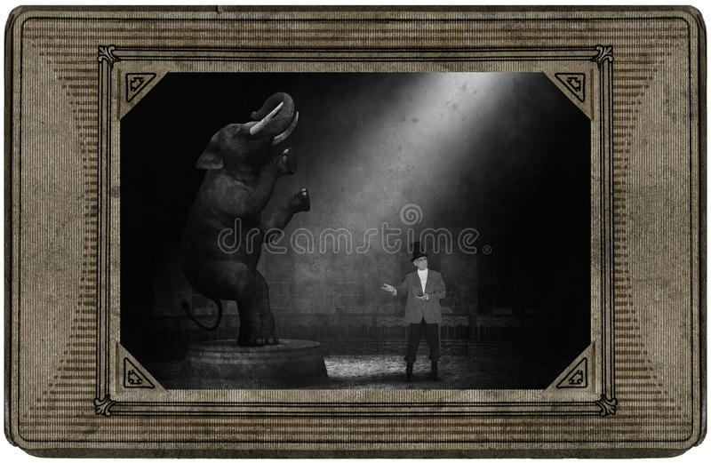 Antykwarska rocznika cyrka karta, słoń, Ringmaster, zabawa obrazy royalty free