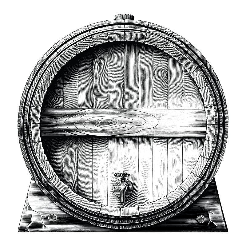 Antykwarska rytownictwo ilustracja dąb baryłki ręka rysuje czarny i biały klamerki sztukę odizolowywającą na białym tle, alkoholi royalty ilustracja