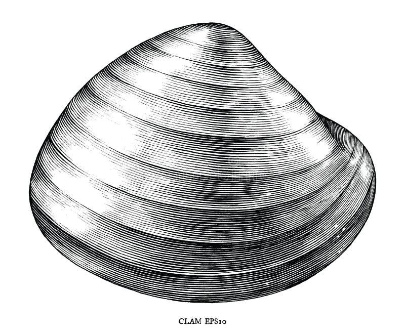 Antykwarska rytownictwo ilustracja milczek klamerki czarny i biały sztuka odizolowywająca na białym tle ilustracja wektor