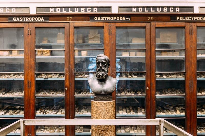 """Antykwarska rzeźba Ferdinand Stoliczek: Paleontologist ekspertyza geologiczna India eksponat wÅ›rodku IndiaÅ""""skiego muzeum i mie zdjęcia royalty free"""