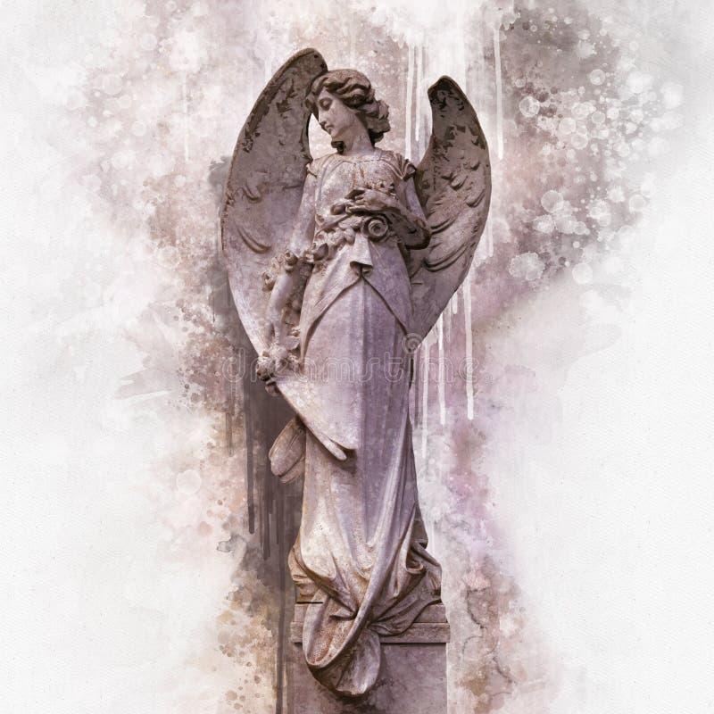 Antykwarska statua anio? w akwarela stylu royalty ilustracja