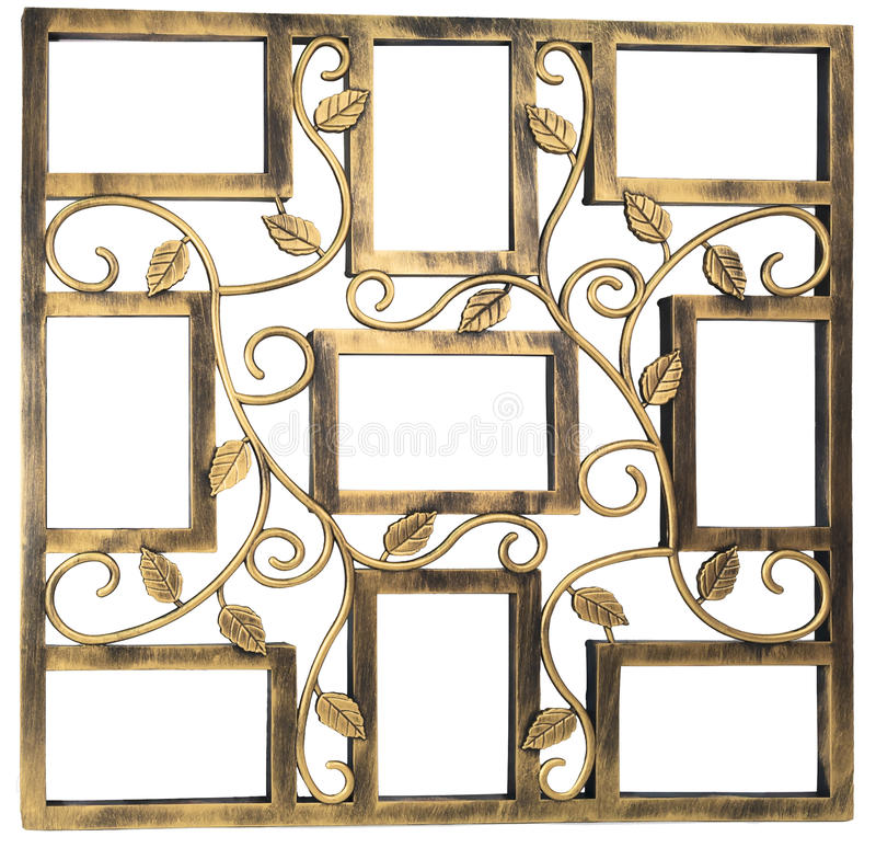 Antykwarska złota fotografii rama z elementami kwiecisty forged ornament Set 9 dziewięć ram pojedynczy białe tło zdjęcia royalty free
