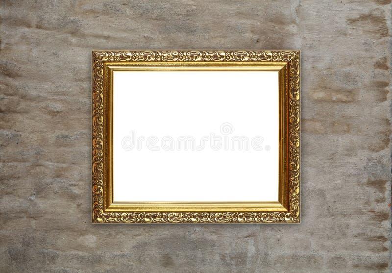 Antykwarska złota obrazek fotografii rama na ściana z cegieł zdjęcia stock