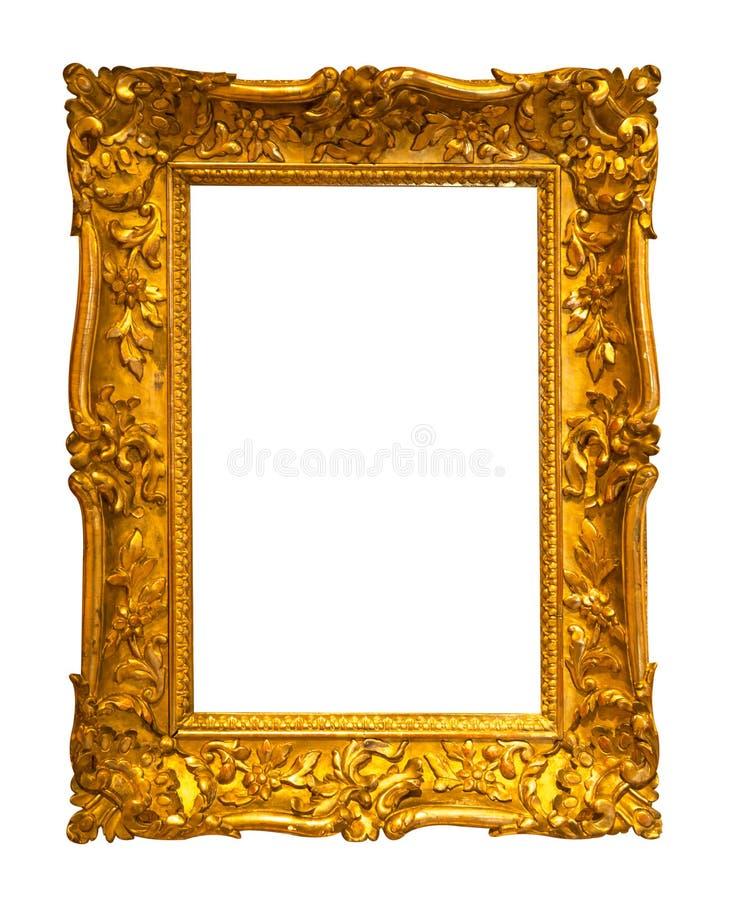 Antykwarska złota rama na białym tle obrazy stock