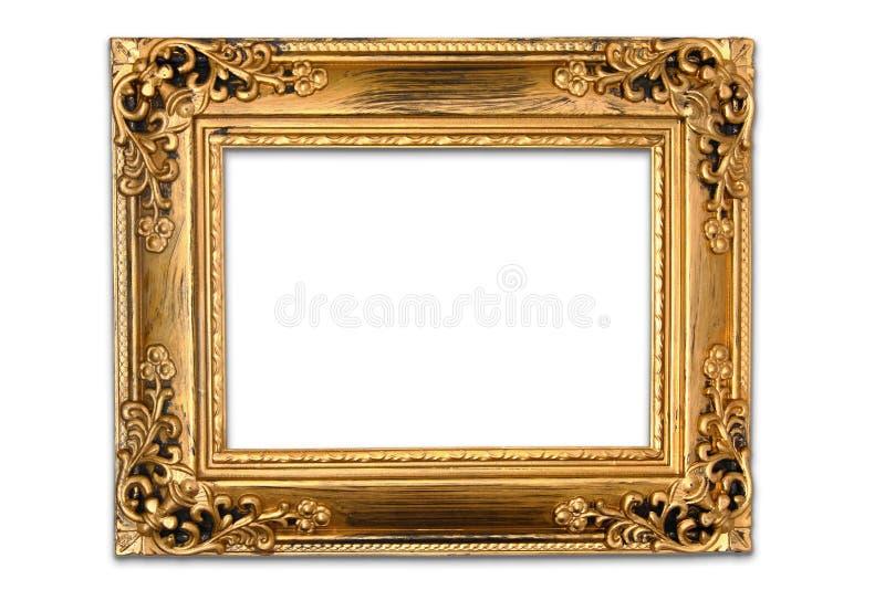 Antykwarska złoto rama na białym tle obraz royalty free