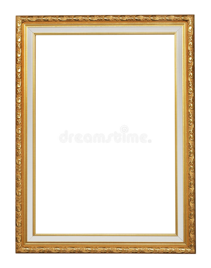 Antykwarska złoto rama na białym tle obraz stock