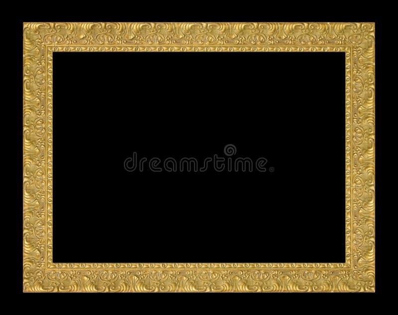 Antykwarska złoto rama na czarnym tle zdjęcia royalty free