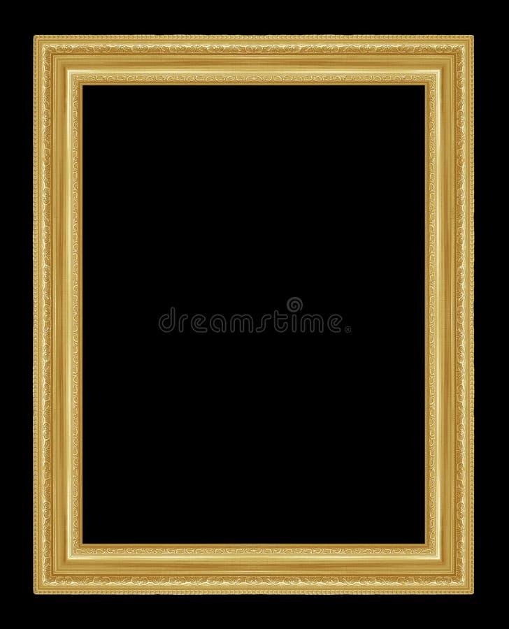 Antykwarska złoto rama na czarnym tle obraz stock