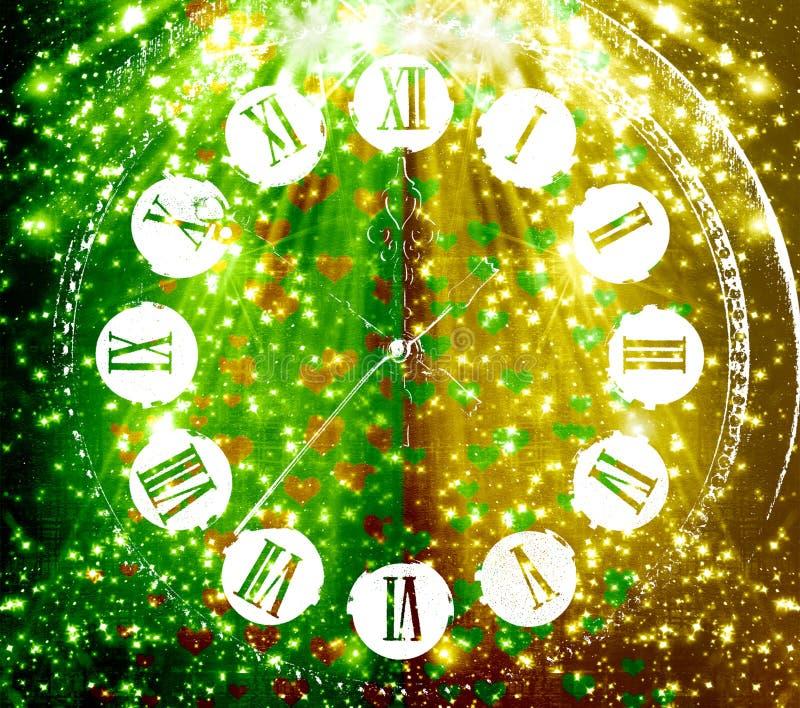 Antykwarska zegarowa twarz na abstrakcjonistycznym stubarwnym tle ilustracja wektor