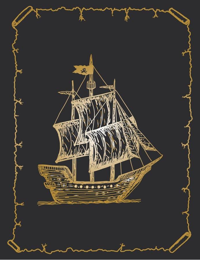 Antykwarski łódkowaty nakreślenie, pirata statku ręka rysujący nakreślenie ilustracji