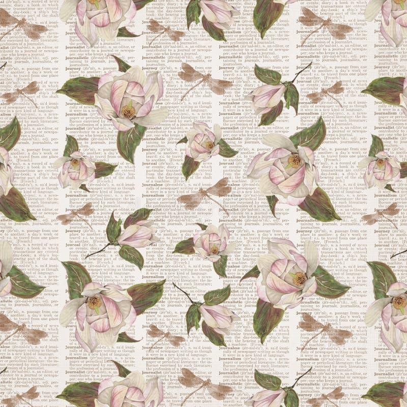 Antykwarski Botaniczny kolaż magnolie - słownik strony Digital papier - Podławy szyk - royalty ilustracja
