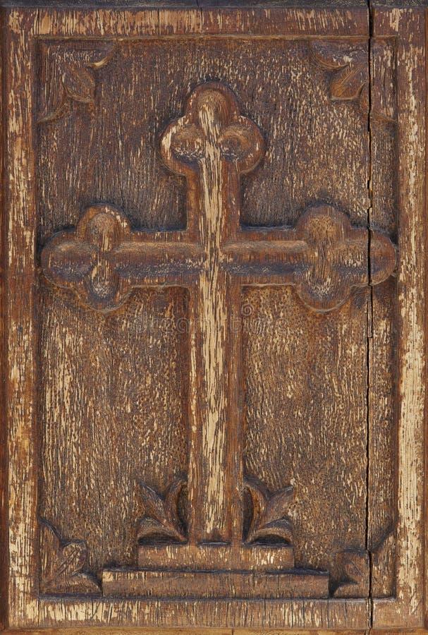 Antykwarski drewniany krzyż w ciepłym brzmieniu greeley fotografia royalty free