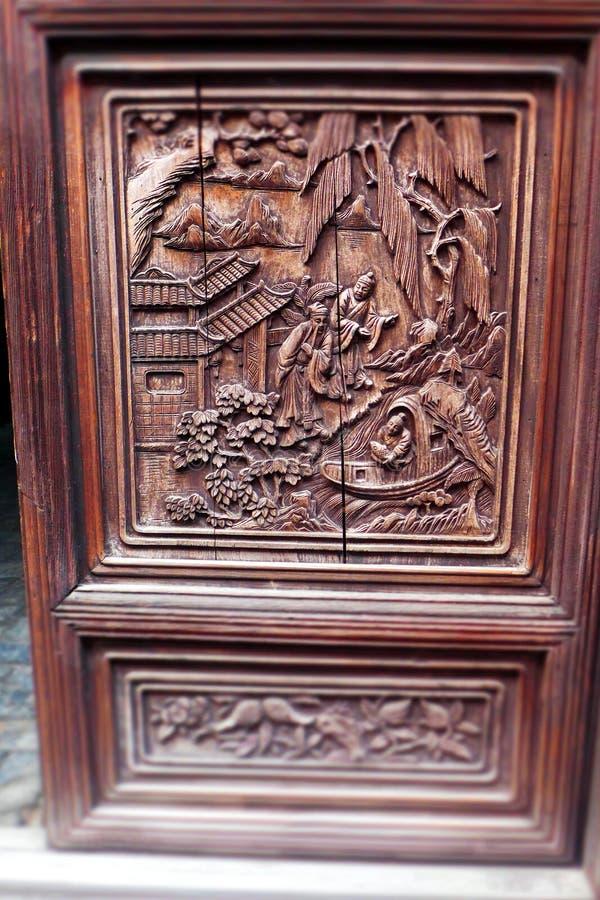 Antykwarski drewno rzeźbiący panel, Chiny obraz royalty free