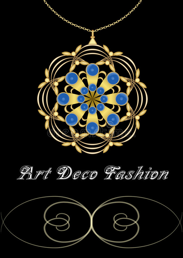 Antykwarski drogi art deco filigree broszka w okręgu składzie z błękitnymi szafirami, złocisty klejnot, moda w wiktoriański ilustracji