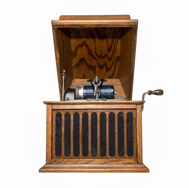 Antykwarski fonograf Odizolowywający na bielu obraz royalty free
