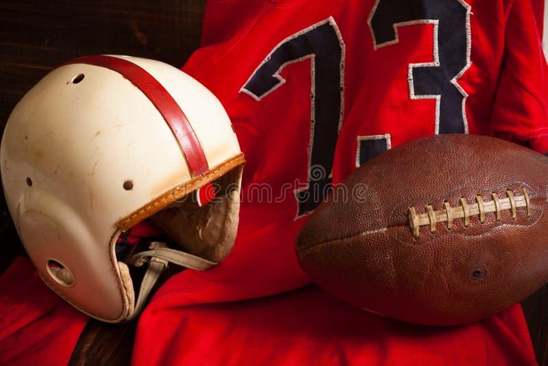 Antykwarski futbol amerykański wyposażenie zdjęcie stock