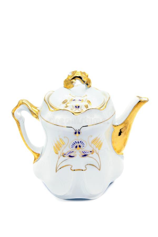 Antykwarski kawowy garnek w sztuki nouveau stylu na białym backgr obraz stock
