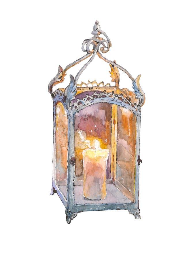 Antykwarski lampion z świeczką Akwareli ręka rysująca malujący ilustrację odizolowywającą na białym tle ilustracja wektor