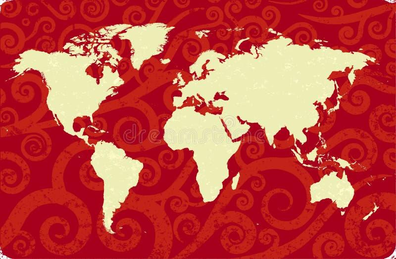 antykwarski mapa świat ilustracji