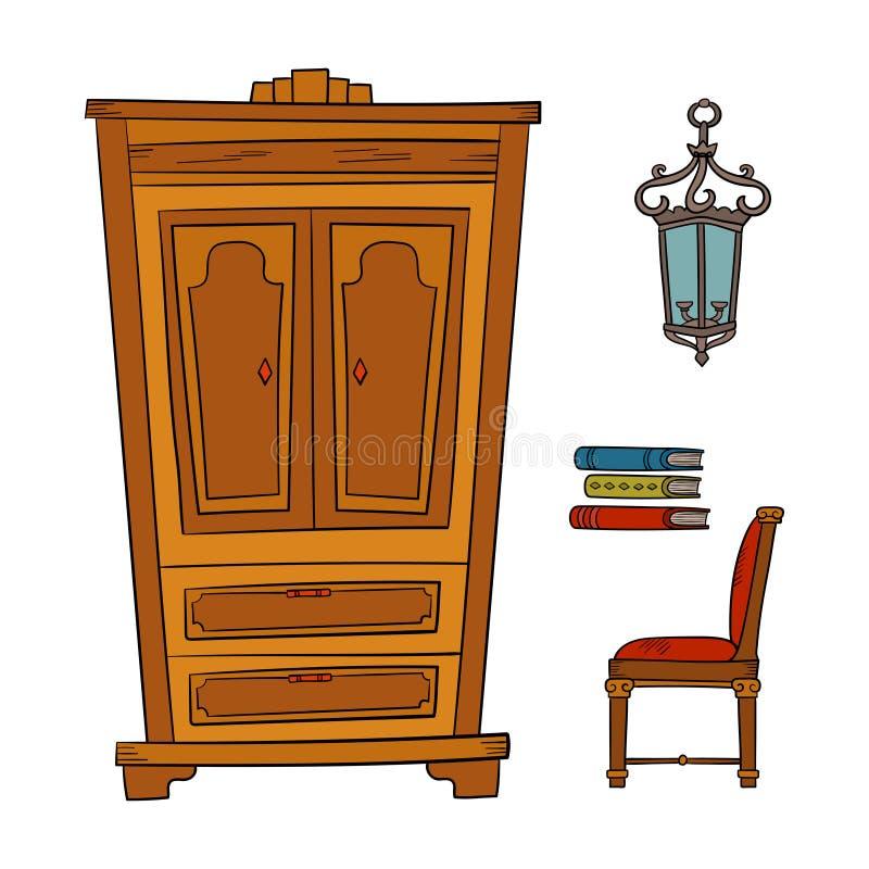 Antykwarski meble ustawiający - szafa, lampa, książka, krzesła odizolowywający na bielu royalty ilustracja