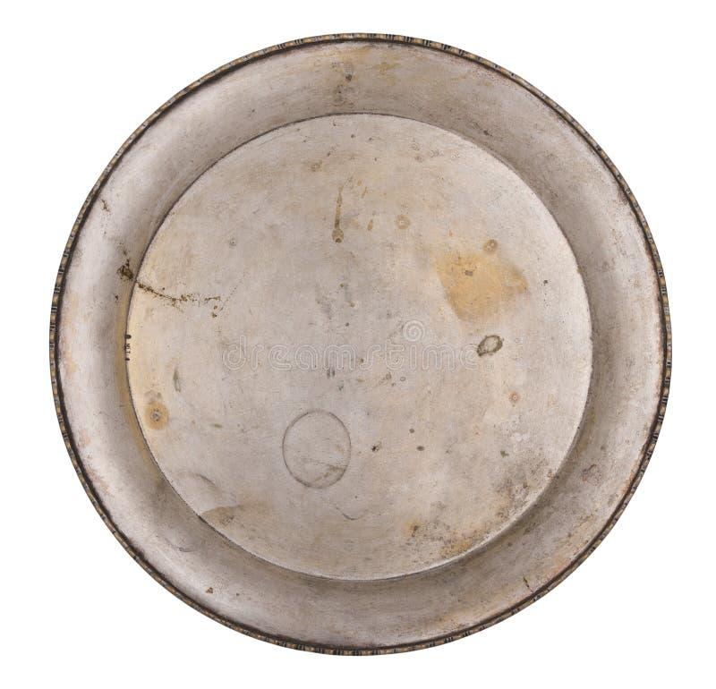 Antykwarski metalu talerz odizolowywający na białym tle styl retro Rocznik zdjęcie stock